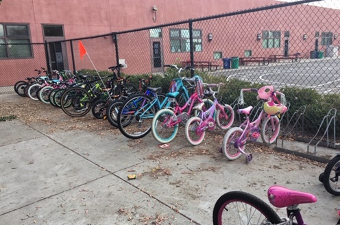 bikes lined up at school