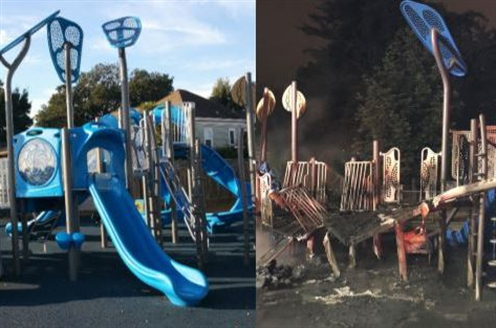 playground before fire, after fire