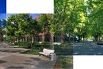 Collage of buildings, trees, and walkways