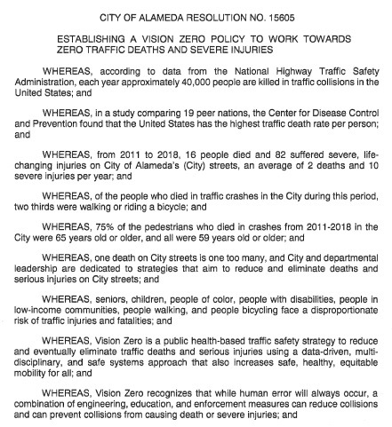 Blurry image of the fist page of the Vision Zero resolution